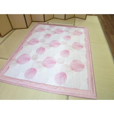 サテン丸柄ピンク